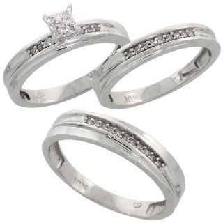 10k White Gold Diamond Trio Engagement Wedding Ring Set for Him and Her 3 piece 5 mm & 3.5 mm wide 0.13 cttw Brilliant Cut, ladies sizes 5   10, mens sizes 8   14 Jewelry