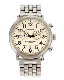 47mm Runwell Mens Chronograph Watch, Stainless Steel/Ivory Dial   Shinola