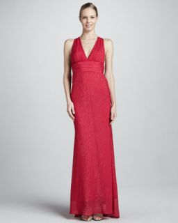 Womens Metallic Brushstroke V Neck Gown   Nicole Miller   Berry (2)