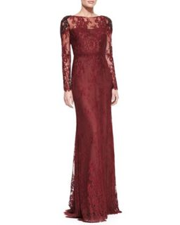 Womens Long Sleeve Lace Overlay Beaded Shoulder Gown   Notte by Marchesa
