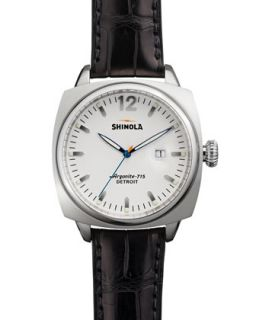 Brakeman Alligator Mens Watch, White/Black   Shinola   White