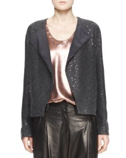 Womens Sequin Knit Cashmere Cardigan with Folded Lapel   Brunello Cucinelli
