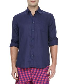 Mens Linen Long Sleeve Shirt, Navy   Vilebrequin   Navy (XX LARGE)