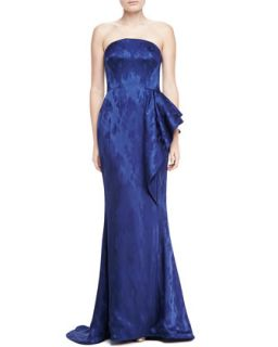 Womens Strapless Mermaid Jacquard Gown   Pamella Roland   Navy (6)