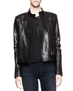 Womens Robyn Crackled Leather Jacket   J Brand Ready to Wear   Black (LARGE)