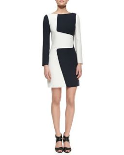 Womens Wool Puzzle Shift Two Tone Dress, Optic White   Michael Kors   Optic