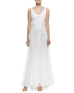 Womens Sleeveless Lace & Beaded Gown with Godets, White   Sue Wong   White (8)