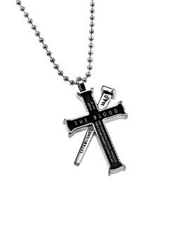 "Christian Mens Black Stainless Steel Abstinence ""The Blood   By His (Jesus') Blood We Shall Be Saved The Blood Of Jesus Christ His Son Cleanseth Us From All Sin."", nail reads ""Established 33 A.D."" Romans 59, 1 John 17 Iron Cross P"
