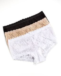 Stretch Lace Boyshorts, Womens   Hanky Panky   White (1X/14 16W)