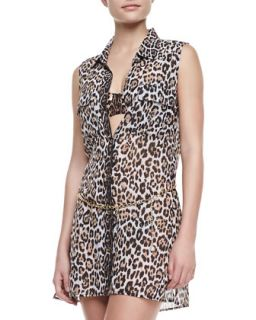 Womens Luxe Leopard Print Coverup Dress   Juicy Couture   Angel (SMALL/4 6)