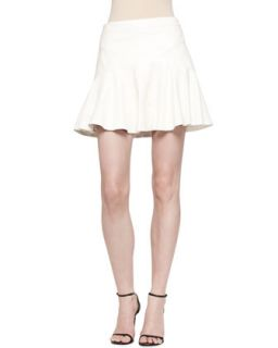 Womens Yoked Leather Ruffle Skirt   10 Crosby Derek Lam   Soft white (12)