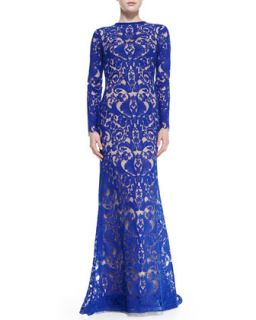 Womens Long Sleeve Lace Overlay Gown   Tadashi Shoji   Mystic blue/Nude (4)