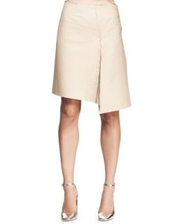 Womens Asymmetric Leather Slit Skirt   Reed Krakoff   Orchid/Nude (6)