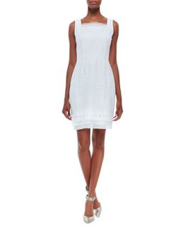 Womens Erin Sleeveless Eyelet Sheath Dress, White   Elie Tahari   White (12)