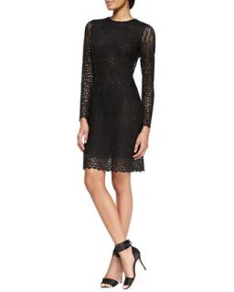 Womens Long Sleeve Lace Keyhole Dress   Adam Lippes   Black (2)