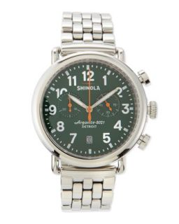 41mm Runwell Mens Chronograph Watch, Stainless Steel/Green Dial   Shinola