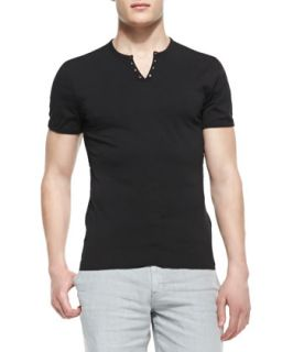 Mens Split Neck Short Sleeve Henly Tee, Black   Star USA   Black (SMALL)
