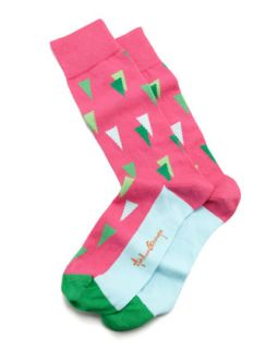 Triangles Mens Socks, Pink   Arthur George by Robert Kardashian   Pink