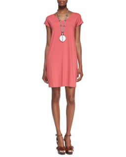 V Neck Cap Sleeve Shift Dress, Womens   Eileen Fisher   Sunset (2X (18/20W))