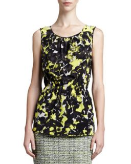 Womens Layered Scoop Neck Blouse, Limestone/Multi   St. John Collection