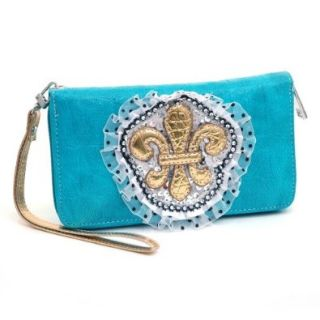Fleur De Lis Lace And Sequins Zip Around Wallet W/ Croco Texture Faux Leather Turquoise Shoes