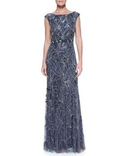 Womens Boat Neck Comet Beaded Gown, Galaxy   Jenny Packham   Galaxy (UK8/4)
