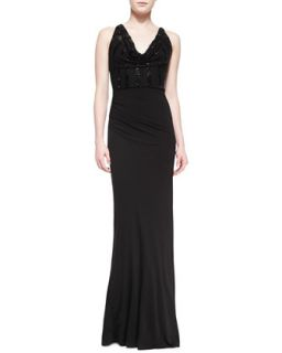 Womens Sleeveless Sequined Jersey Gown   David Meister   Black (8)