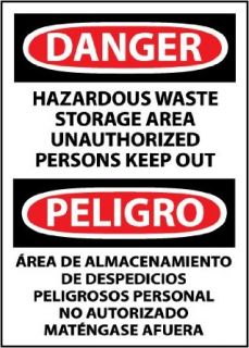 "NMC ESD442RB Bilingual OSHA Sign, Legend ""DANGER   HAZARDOUS WASTE STORAGE AREA UNAUTHORIZED PERSONS KEEP OUT"", 10"" Length x 14"" Height, Rigid Plastic, Black/Red on White Industrial Warning Signs"