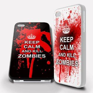 Gamers Keep Calm and Kill Zombies iPhone 4 / 4s Printed Black Hard Case Cover Cell Phones & Accessories