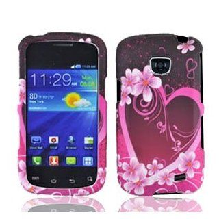 Bundle Accessory for Straight Talk Samsung Galaxy Proclaim S720C   Purple Heart Designer Hard Case Cover+ Lf Wiper Cell Phones & Accessories