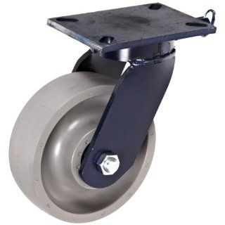 "RWM Casters 76 Series Plate Caster, Swivel with Lock, Kingpinless, Elastomer Wheel, Ball Bearing, 2400 lbs Capacity, 8"" Wheel Dia, 2 1/2"" Wheel Width, 10 1/2"" Mount Height, 7 1/4"" Plate Length, 5 1/4"" Plate Width Industrial &"