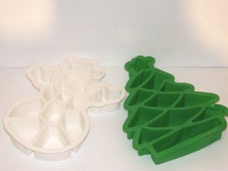 2 Piece Set Holiday Christmas Tree and Snowman Pull Apart Take Apart Silicone Cake Baking Pans. Looks Like One Cake. Kitchen & Dining