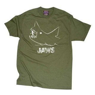 JAWS Distressed (worn looking) Classic Movie Shark Olive T shirt Tee Shirt Clothing