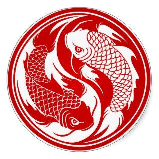 Red and White Yin Yang Koi Fish Round Sticker