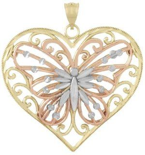 Gold Animal Charm Pendant Butterfly On Heart 2 D & D C Accent Wings Tri color Million Charms Jewelry
