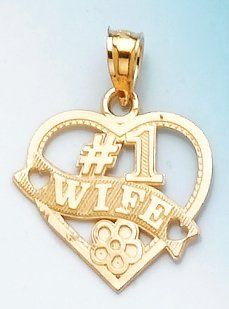 14k Gold Heart Charm Pendant, #1 Wife Jewelry