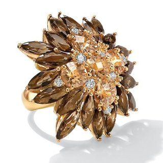 PalmBeach Jewelry 8.09 TCW Champagne Color CZ and Smoky Quartz Colored Glass 14k Gold Plated Ring Bands Jewelry