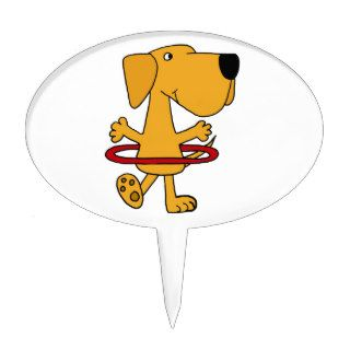 Funny Yellow Labrador Retriever Playing Hula Hoop Cake Toppers