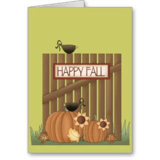 Harvest Fall Autumn Pumpkin Crow Leaves Fence Cards