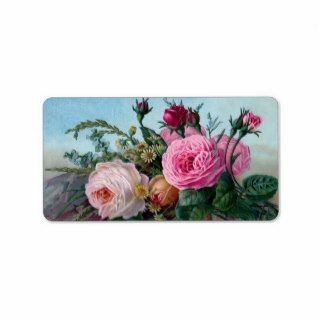 Shabby Chic Vintage Pink & White Roses Floral Custom Address Labels