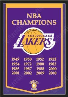 Dynasty Banner Of Los Angeles Lakers Framed Awesome & Beautiful Must For A Championship Team Fan Most NBA Team Dynasty Banners Available Plz Go Through Description & Mention In Gift Message If Need A different Team   Sports Fan Wall Banners