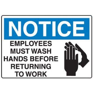 Emedco Employees Must Wash Hands Fiberglass Sign Industrial Warning Signs