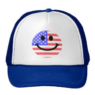 4th of July American Flag Smiley face Trucker Hat