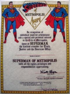 Superman of Metropolis Award   Autographed/Hand Signed by Kirk Alyn, Joe Shuster, Jerry Siegel Kirk Alyn Entertainment Collectibles