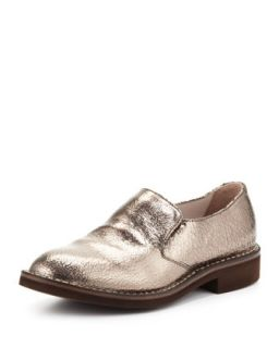 Crackle Metallic Slip On Loafer, Silver   Brunello Cucinelli   Silver (37.5B/7.