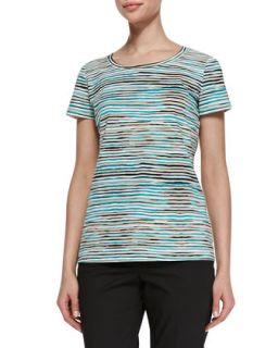 Womens Artisan Striped Short Sleeve Tee   Lafayette 148 New York   Splash mul