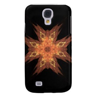 Red, Yellow, and Orange Fractal Art Flame on Black Galaxy S4 Case