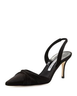 Mantello Satin Slingback Pump   Manolo Blahnik   Black (36.5B/6.5B)