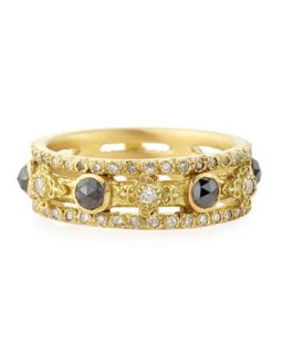 Sueno Yellow Gold Band Ring with Diamonds   Armenta   Gold (8)