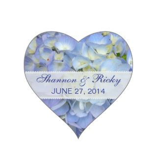Wedding Heart Sticker in Light Blue Hydrangeas